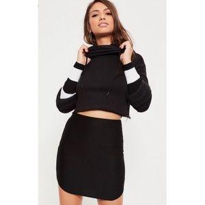 Black Curve Hem Ribbed Mini Skirt
